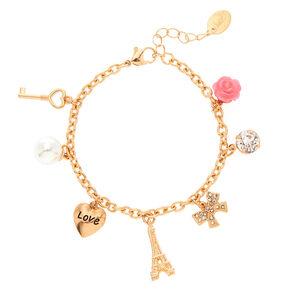 Rose Gold Romantic Eiffel Tower Charm Bracelet,