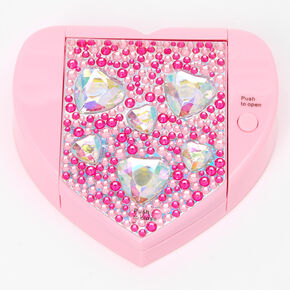 Rhinestone Hearts Mechanical Bling Lip Gloss Set - Pink,