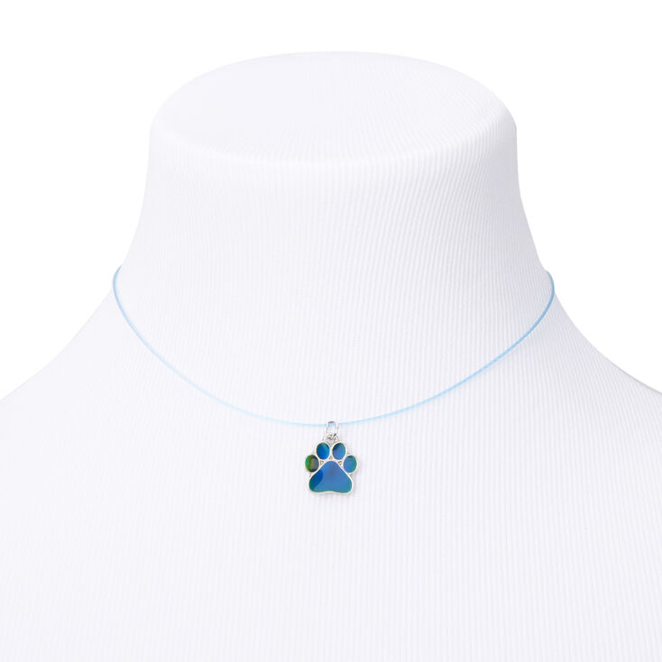 Mood Paw Print Illusion Pendant Necklace,