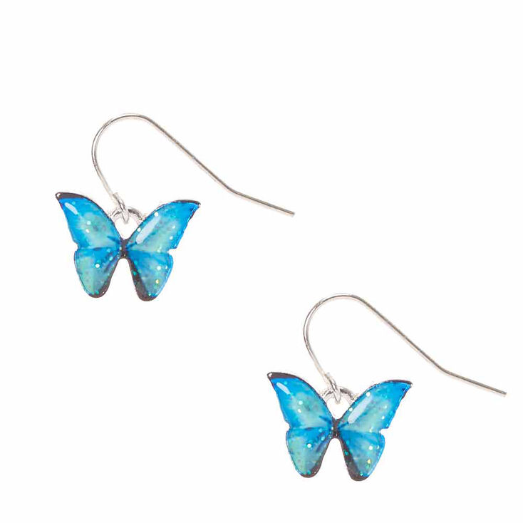 Blue Glitter Butterfly Drop Earrings,