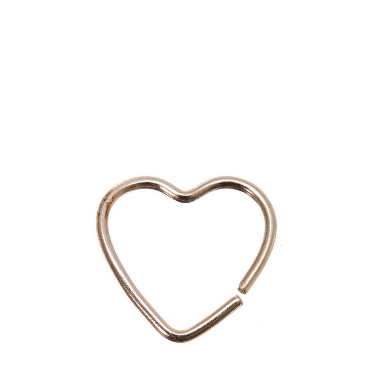 Sterling Silver 20G Heart Hoop Rook Earring,