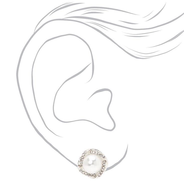 Silver Embellished Halo Pearl Stud Earrings,