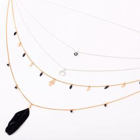 Mixed Metal Spiritual Feather Multi Strand Necklace - Black,