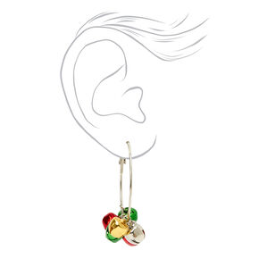 Silver 50MM Christmas Jingle Bell Hoop Earrings,