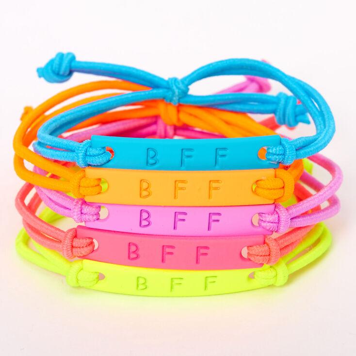Neon Matte Plate Stretch Friendship Bracelets - 5 Pack,