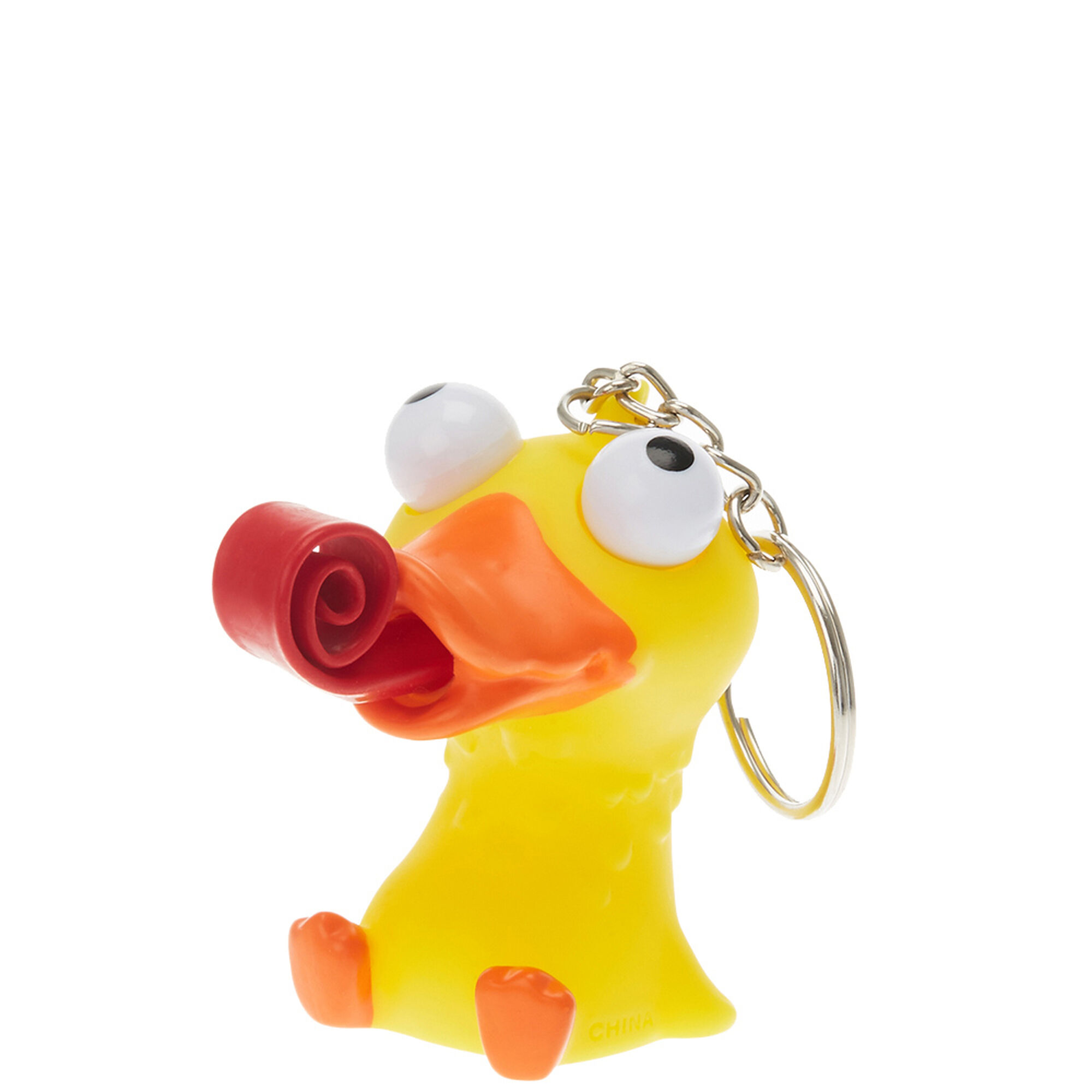 Rubber Duck with Popping Tongue Keychain | Claire\'s US