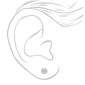 Silver Metallic Pearl Stud Earrings,