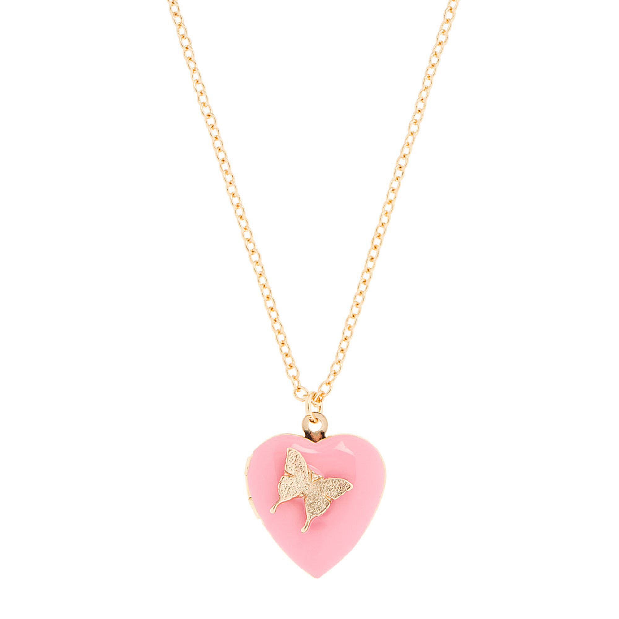 Pink heart locket with gold butterfly pendant necklace claires us pink heart locket with gold butterfly pendant necklace aloadofball Image collections