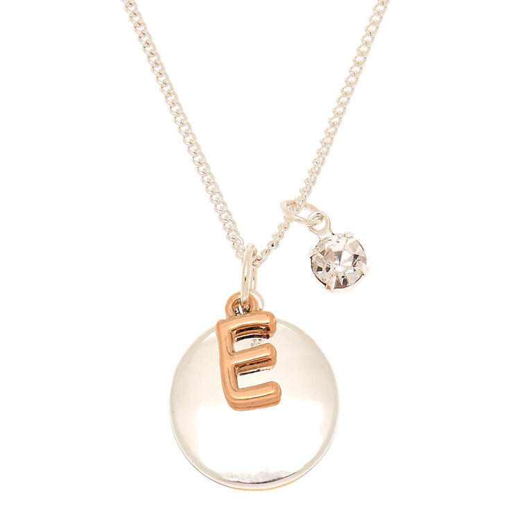 mixed metal initial charm pendant necklace e claire s