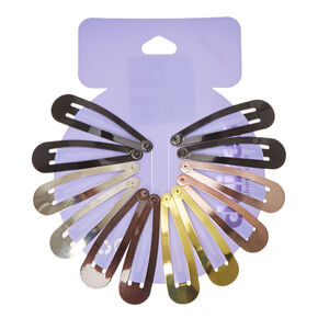 Mixed Metallic Snap Hair Clips - 12 Pack,