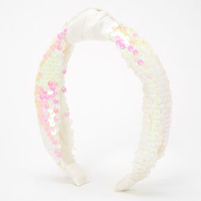 Sequin Knotted Headband - White,