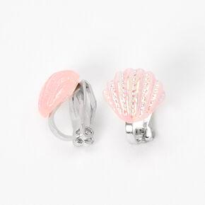 Glitter Seashell Clip-On Stud Earrings - Pink,