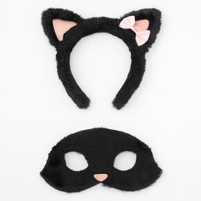 Claire's Club Cat Headband & Mask Set - Black, 2 Pack,