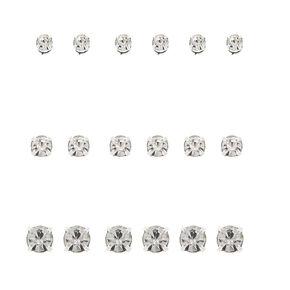 Lot de 9clous d'oreille aimantés avec strass couleur argenté,