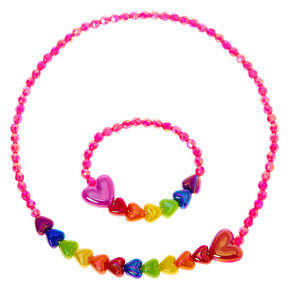 Claire's Club Rainbow Heart Jewelry Set - 2 Pack,