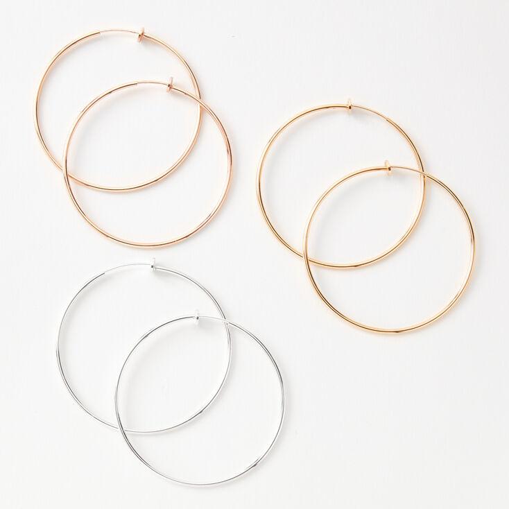 Mixed Metal 60MM Clip On Hoop Earrings - 3 Pack,