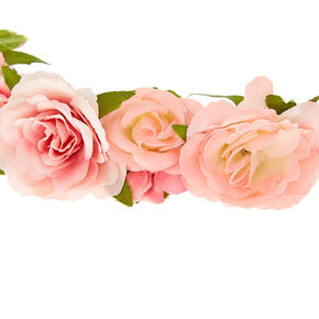 Claire's Club Flower Crown Tie Headwrap - Pink,