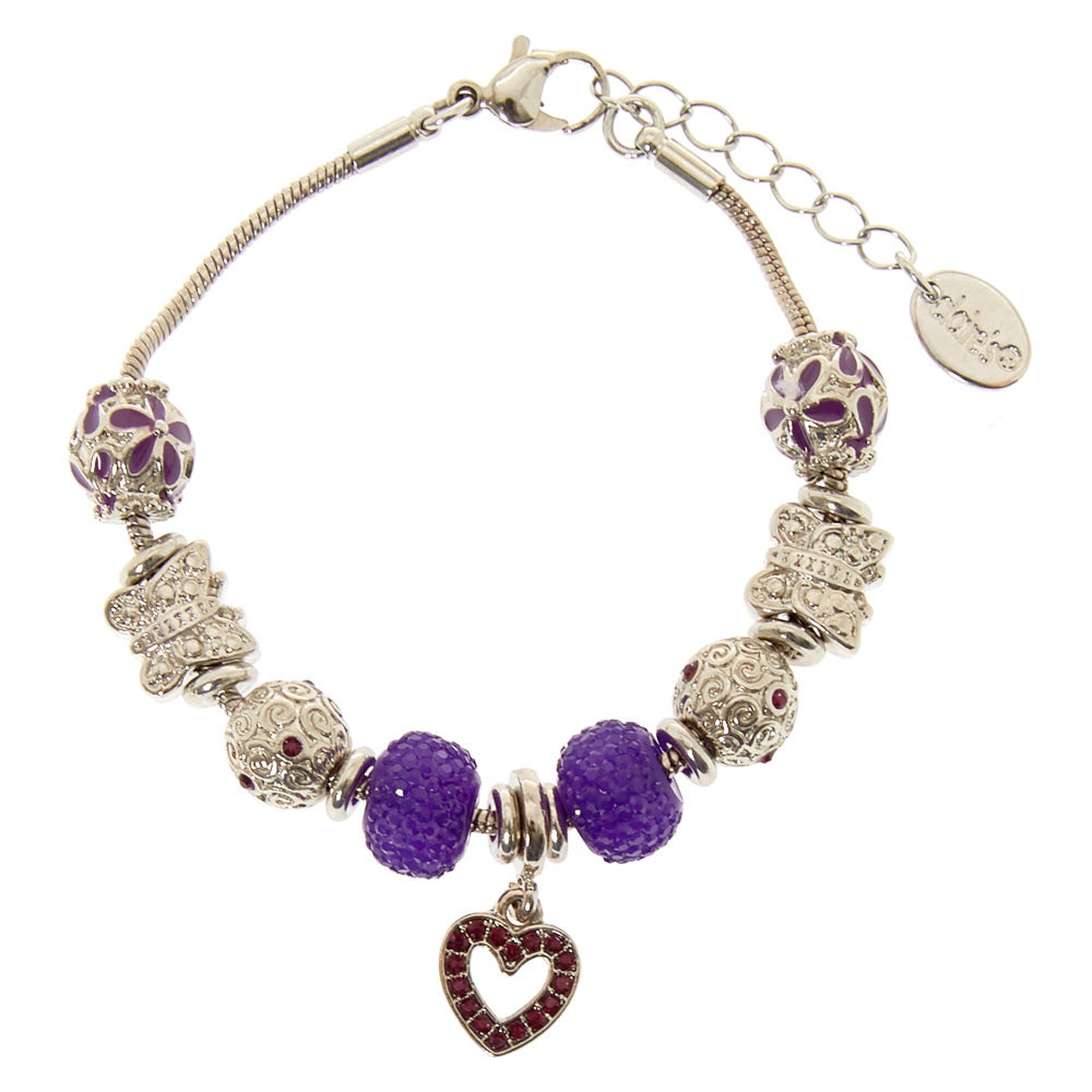 purple crystal charm bracelet claires