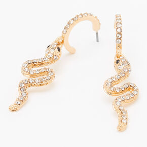Gold 15MM Embellished Snake Hoop Earrings,