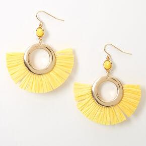 Pendantes perlées avec éventails et cercles 5cm couleur dorée - Jaune,