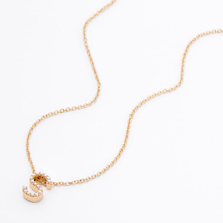 Gold Mini Pearl Initial Pendant Necklace - S,