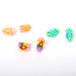 Rainbow Glitter Flip Flop Stud Earrings - 3 Pack,