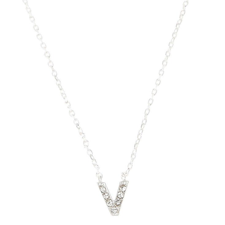 V pendant initial necklace claires us v pendant initial necklace aloadofball Choice Image