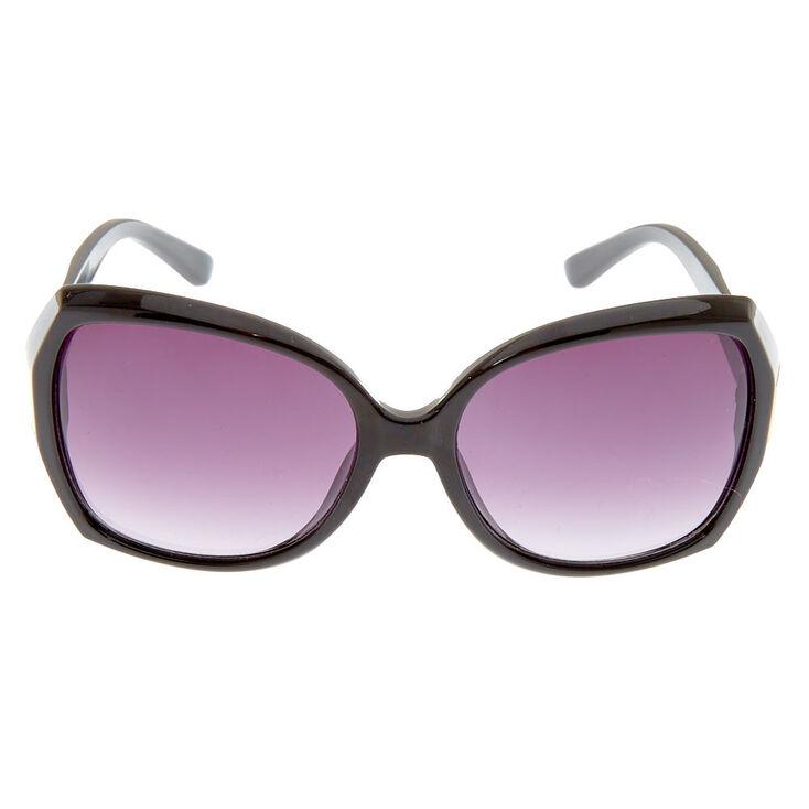 Geometric Large Sunglasses - Black,
