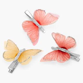 Barrettes papillon tons chauds couleur argentée - Lot de 3,