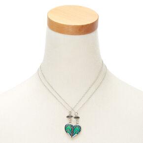 Lot de 2 colliers best friends à pendentif d humeur en forme de cœur à  chevrons af97b8cae697
