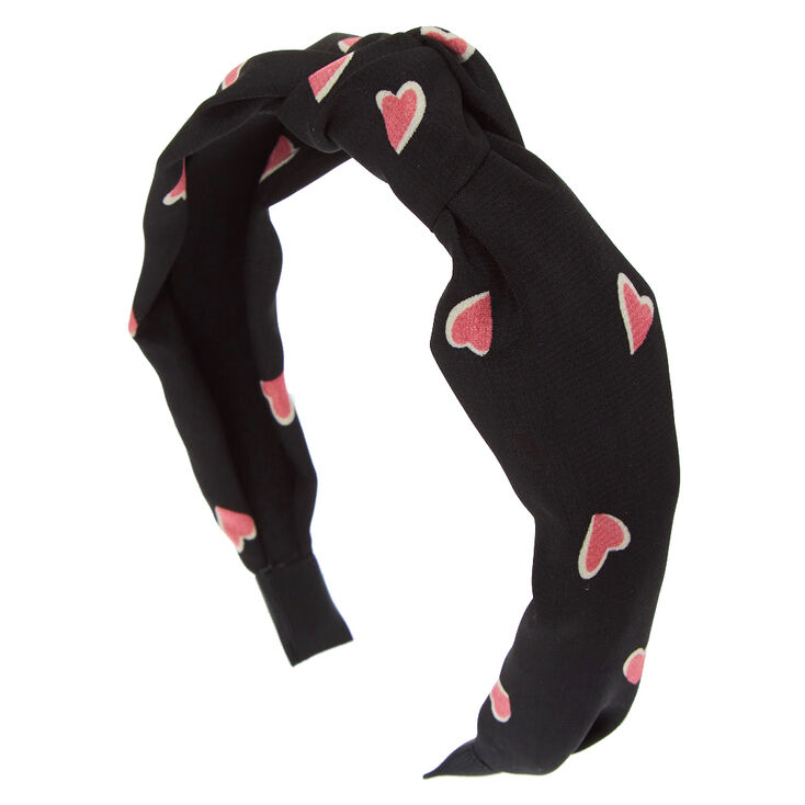Pretty Pink Heart Knotted Headband - Black,