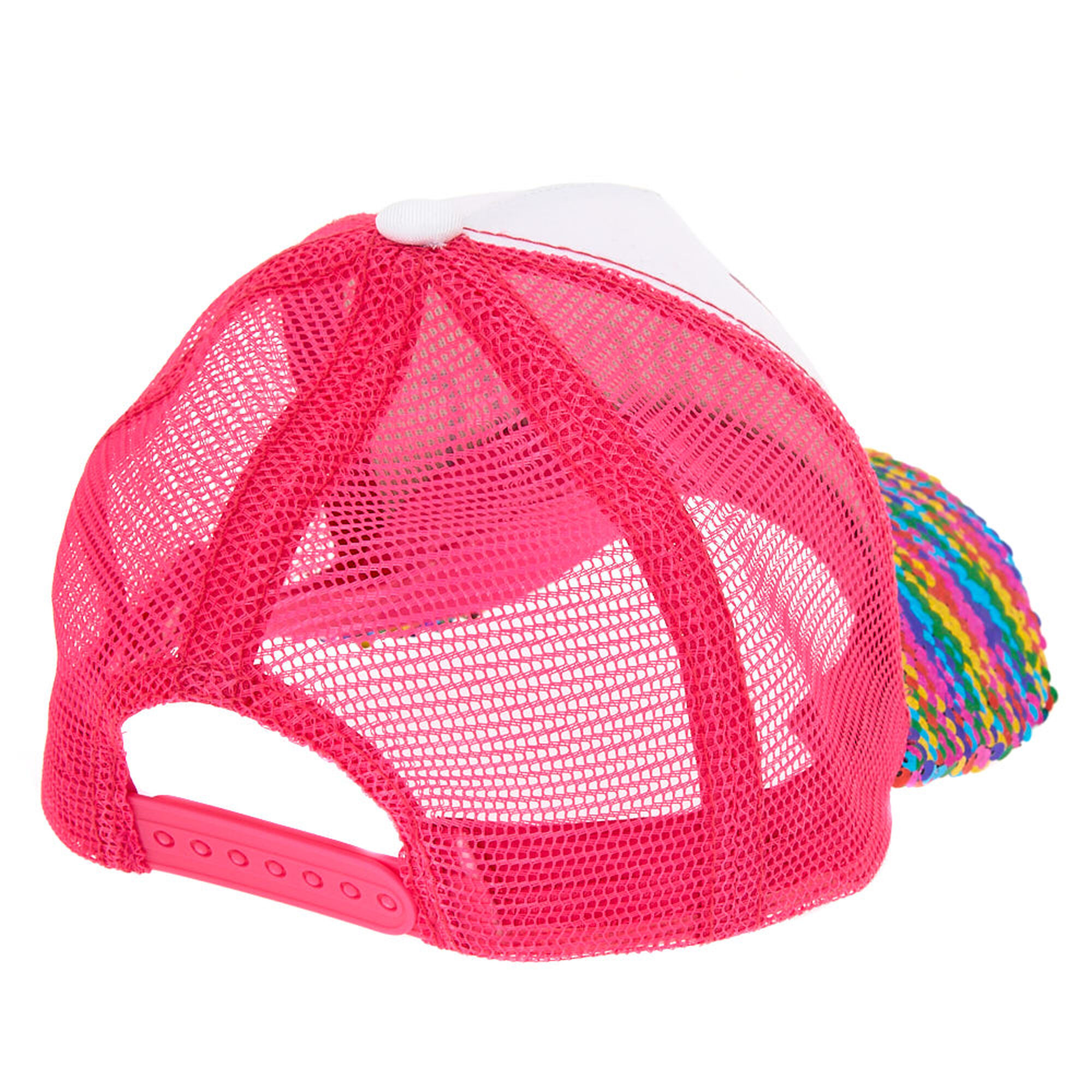 987f00601 Chasing Rainbows Reversible Sequin Trucker Hat - Pink | Claire's US