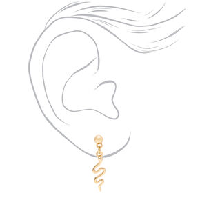 "Mixed Metal 0.5"" Snake Drop Earrings - 3 Pack,"