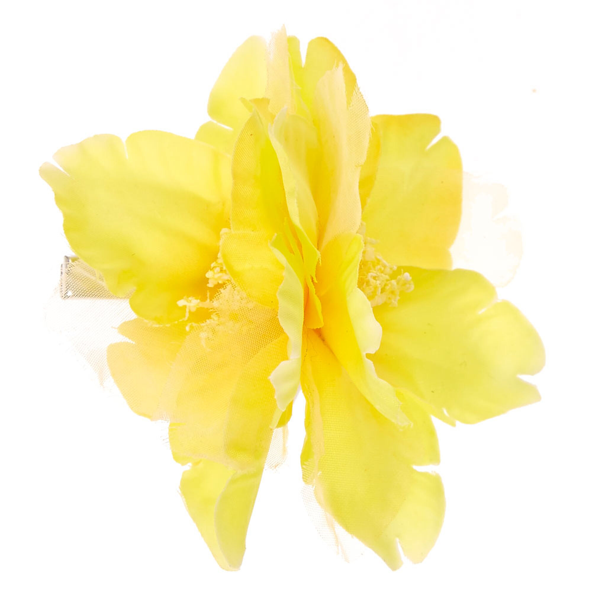 Yellow Double Flower Hair Clip Claires Us