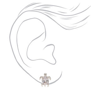 Silver Cubic Zirconia Turtle Stud Earrings - 8MM,