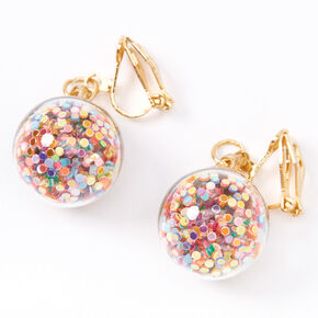 "Gold 1"" Rainbow Glitter Shaker Clip On Drop Earrings,"