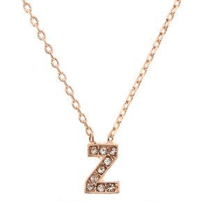 Rose Gold Embellished Initial Pendant Necklace - Z,