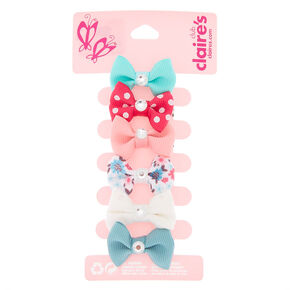 Claire's Club Gem Hair Bow Clips - 6 Pack,
