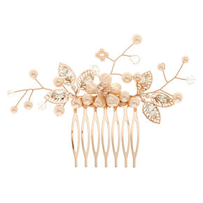 Rose Gold Faux Pearl Flower Hair Comb - Blush,