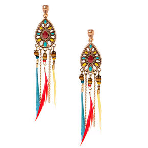 "Gold 4"" Boho Rainbow Feather Clip On Drop Earrings,"