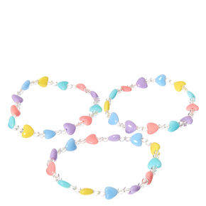 Claire's Club Pastel Heart Stretch Bracelets - 3 Pack,