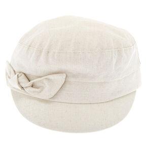 Glitter Bow Captain Hat - Cream,