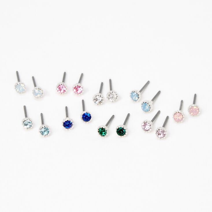 Silver 4MM Pastel Crystal Stud Earrings - 9 Pack,