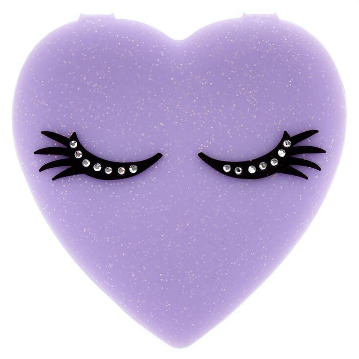 Silicone Heart Compact Mirror - Purple,