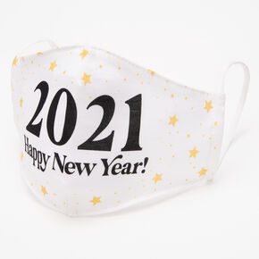 White 2021 Happy New Year Face Mask - Adult,