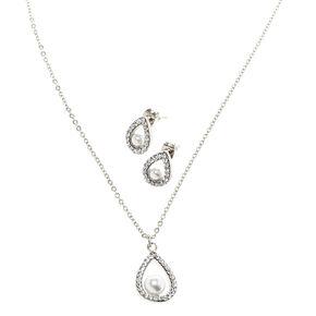 Silver-tone White  Pearl Teardrop Pendant Necklace & Earring Set,