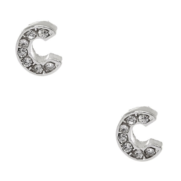 Claire's - tone clear crystal initial letter c stud earrings - 1