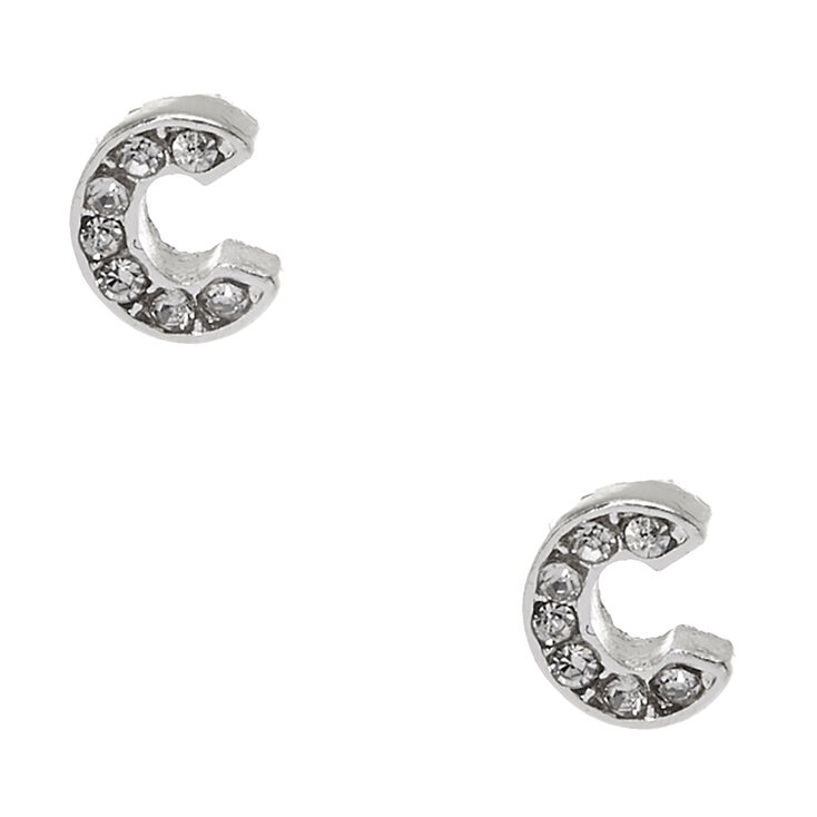 Silver Tone Clear Crystal Initial Letter C Stud Earrings