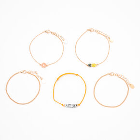 Gold Summer Fruits Chain Bracelets - 5 Pack,