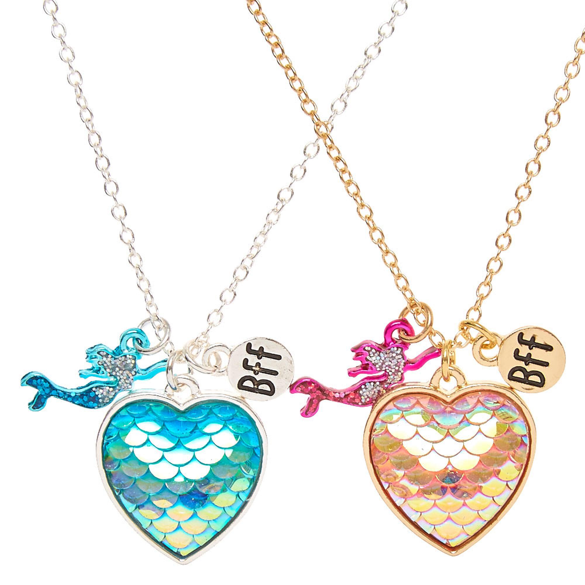 Best friends mermaid scales heart pendant necklaces claires us best friends mermaid scales heart pendant necklaces mozeypictures Choice Image